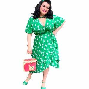 Eloquii Green Wrap Dress Layered Skirt Size 18